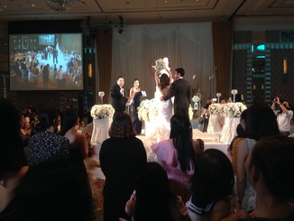 The wedding reception was a really impressive affair. Held in a nice hotel and flanked with lavish and varied buffets, the bride and groom stayed on stage the whole time.