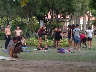 Foreigners of all stripes were doing all sorts of recreation, from aerobics to yoga to photography to just lounging.