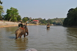 The elephant ride goes through the river before circling back through the village. It's bumpy.